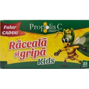 Propolis C Kids Raceala si Gripa (15 plicuri) + Fular Cadou