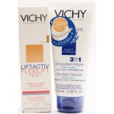 VICHY LIFTACTIV FLEXILIFT TEINT FOND DE TEN ANTI-RID + CADOU VICHY PURETE THERMAL DEMACHIANT INTEGRAL 3 IN 1